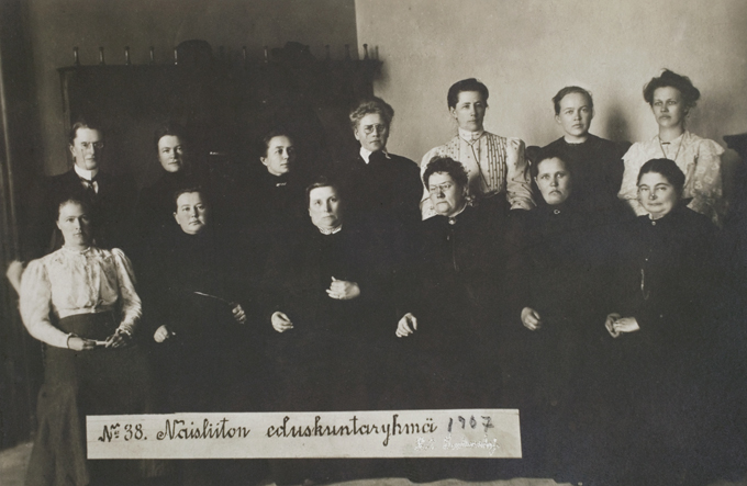 13 of the 19 Finnish female MPs in a posed group photo