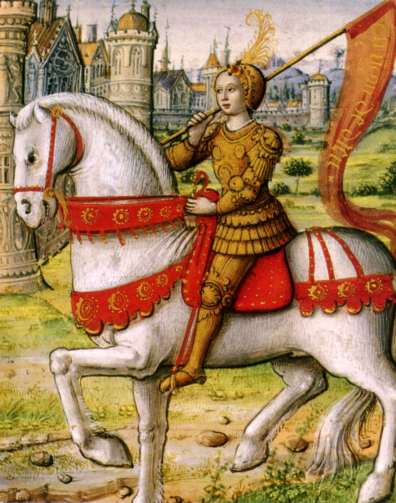 1505 illustration of Jeanne. She sits on a white warhorse wearing golden armour and carrying a banner flag.
