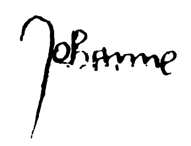 Signature of Jeanne d'Arc. She used the contemporary spelling of Johanne.
