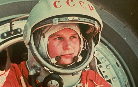 Valentina Tereshkova in her spacesuit, preparing for launch