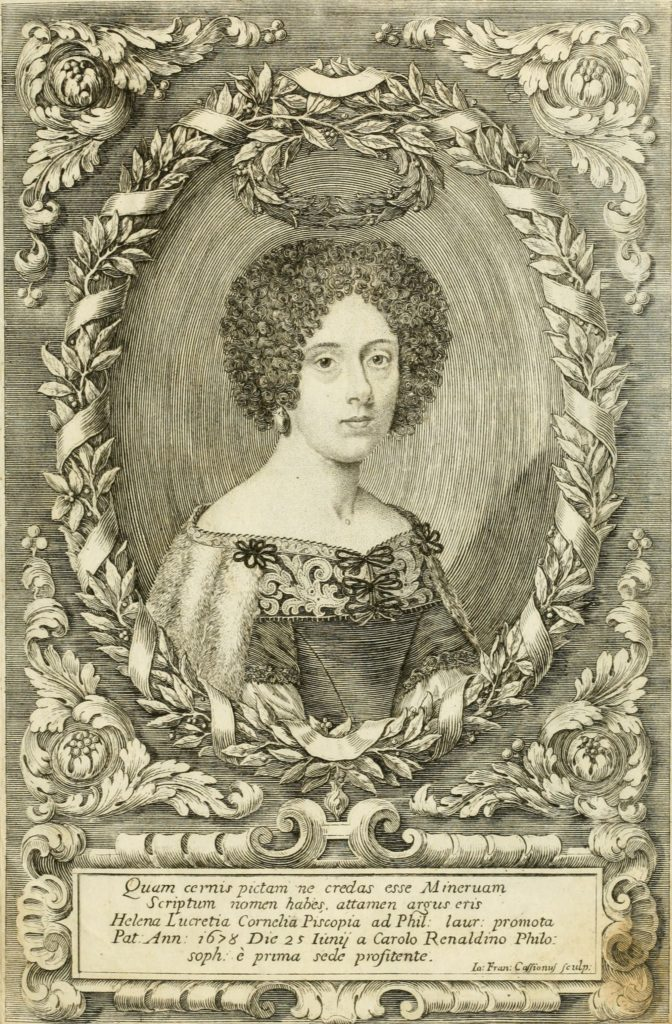 Engraving of Elena Piscopia, the first woman to receive a doctorate